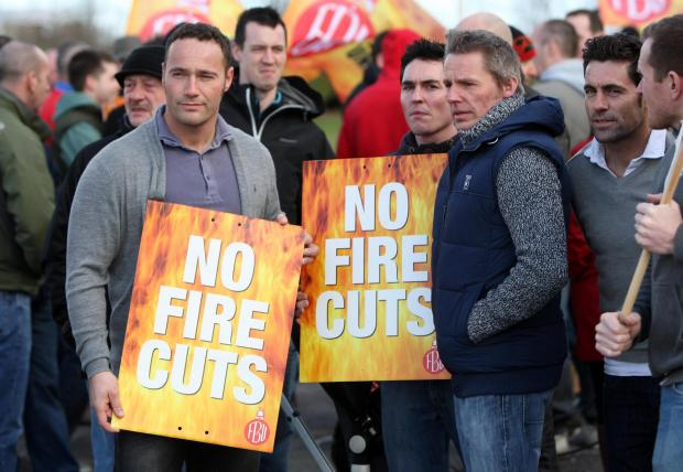 Firefighters outside Cleveland Fire Brigade HQ before last week's meeting.