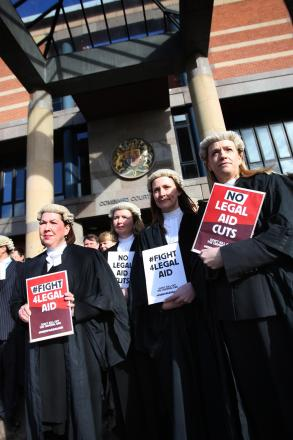 LEGAL WRANGLE: Barristers and solicitors on strike outside Teesside Combined Court Centre, Middlesbrough