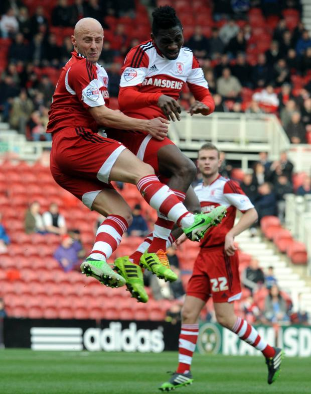 Darlington and Stockton Times: ONE OF YOU: Jozsef Varga and Kenneth Omeruo go for the same ball during Saturday's 2-0 win over Ipswich Town