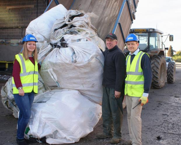 WASTE Ellie Dunwell with farmer Keith Till (centre) and Philip Atkinson