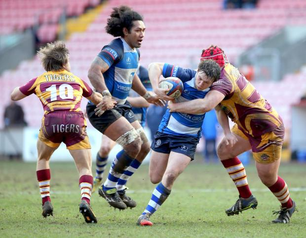 GAINING MOMENTUM: Mowden Park's Maxwell Connon on the attack against Sedgley Tigers at The Northern Echo Arena