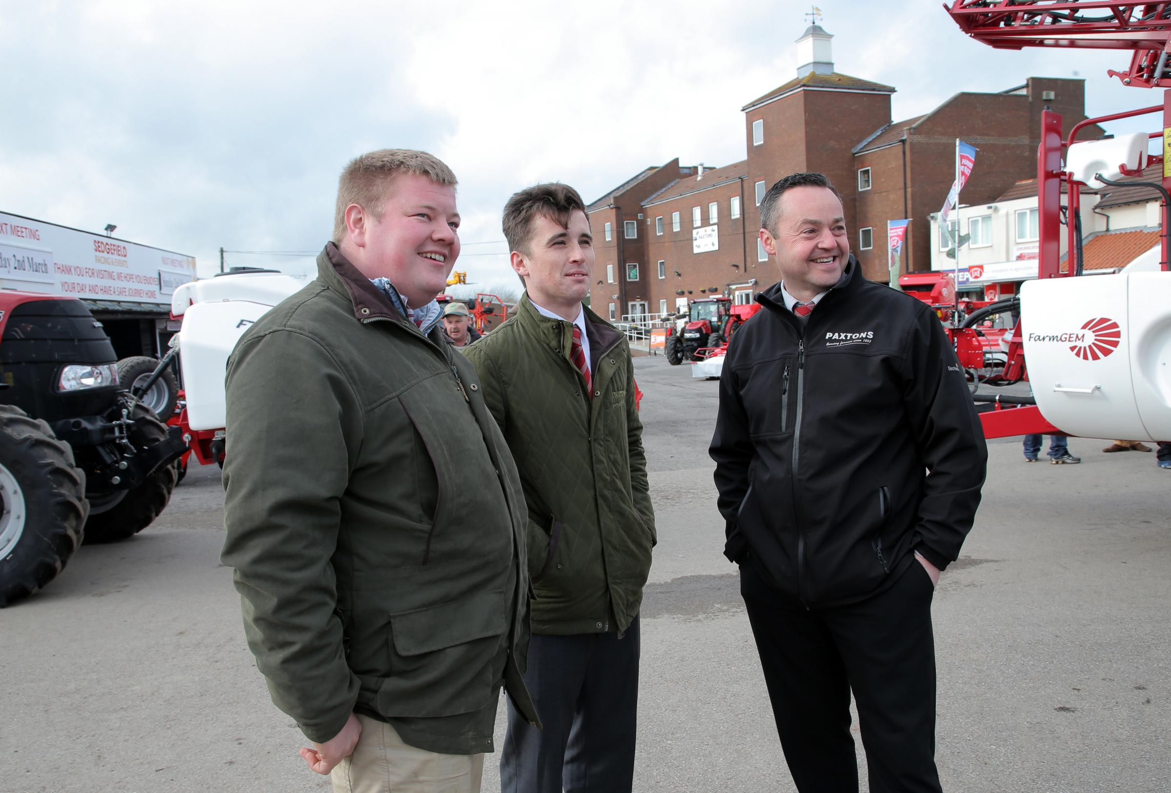 ADVICE: visitor George Daniel, left, chats to Will Paxton, sales manager, and Neil Tiplady, group service manager