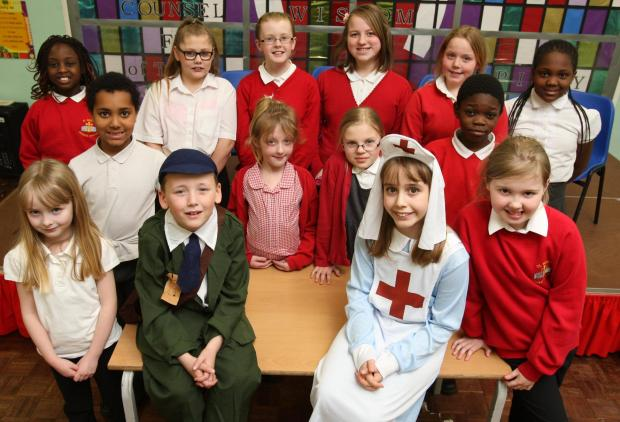 Children from St Bede's Primary School in Stockton who are part of the chior in a prodution of 'Oh What a Lovely War!'.