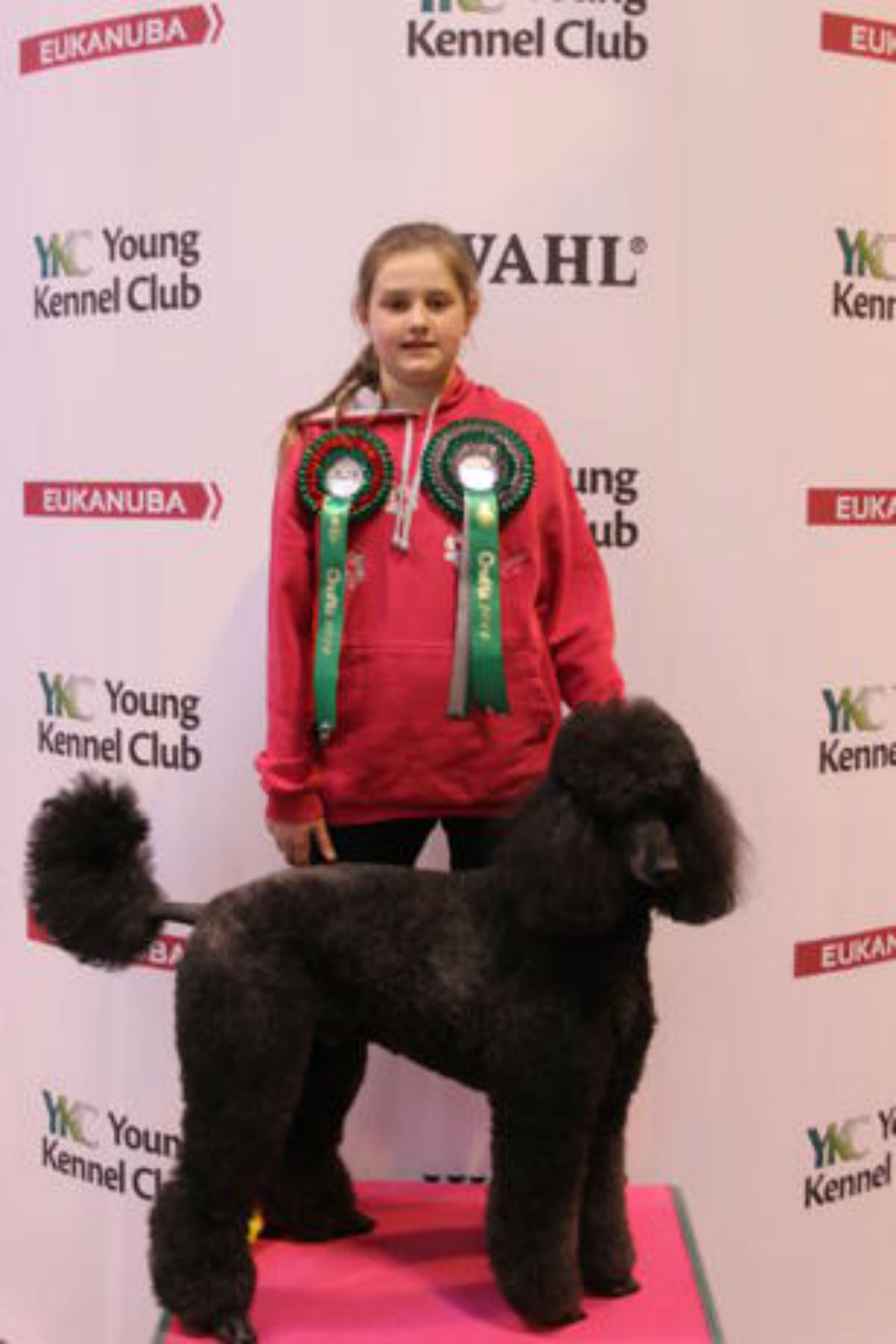 Melissa Saunders with poodle Basil at Crufts