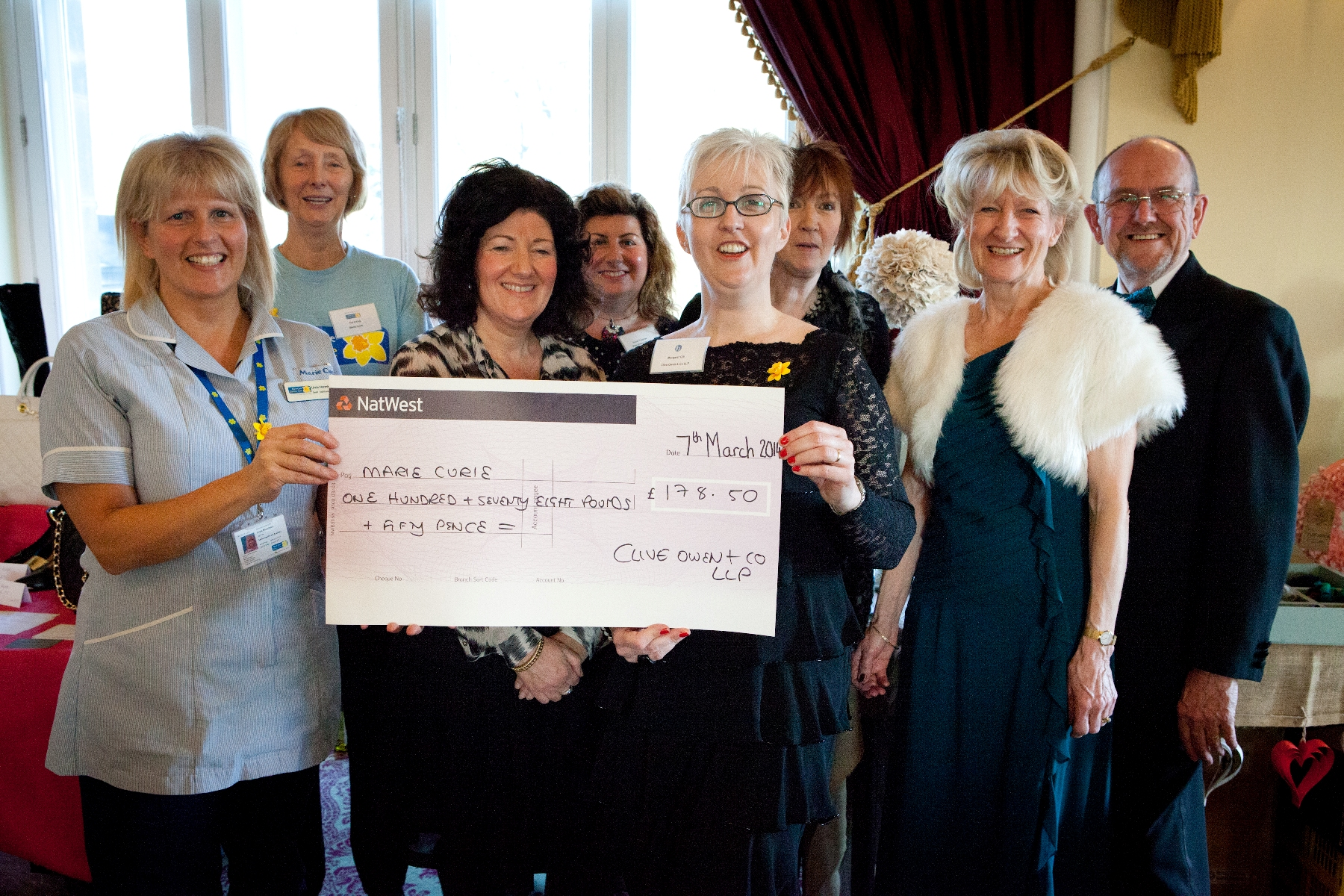 FUNDS RAISED: From left, Linda Normington, a Marie Curie nurse, Pat Irving, Marie Curie fundraising coordinator, Carol Noble, of Shoe Sisters, Susan Freeman, of Shoe Sisters, Margaret Gill of Clive Owen & Co LLP, Mairi Kennedy, of Raggy Badge
