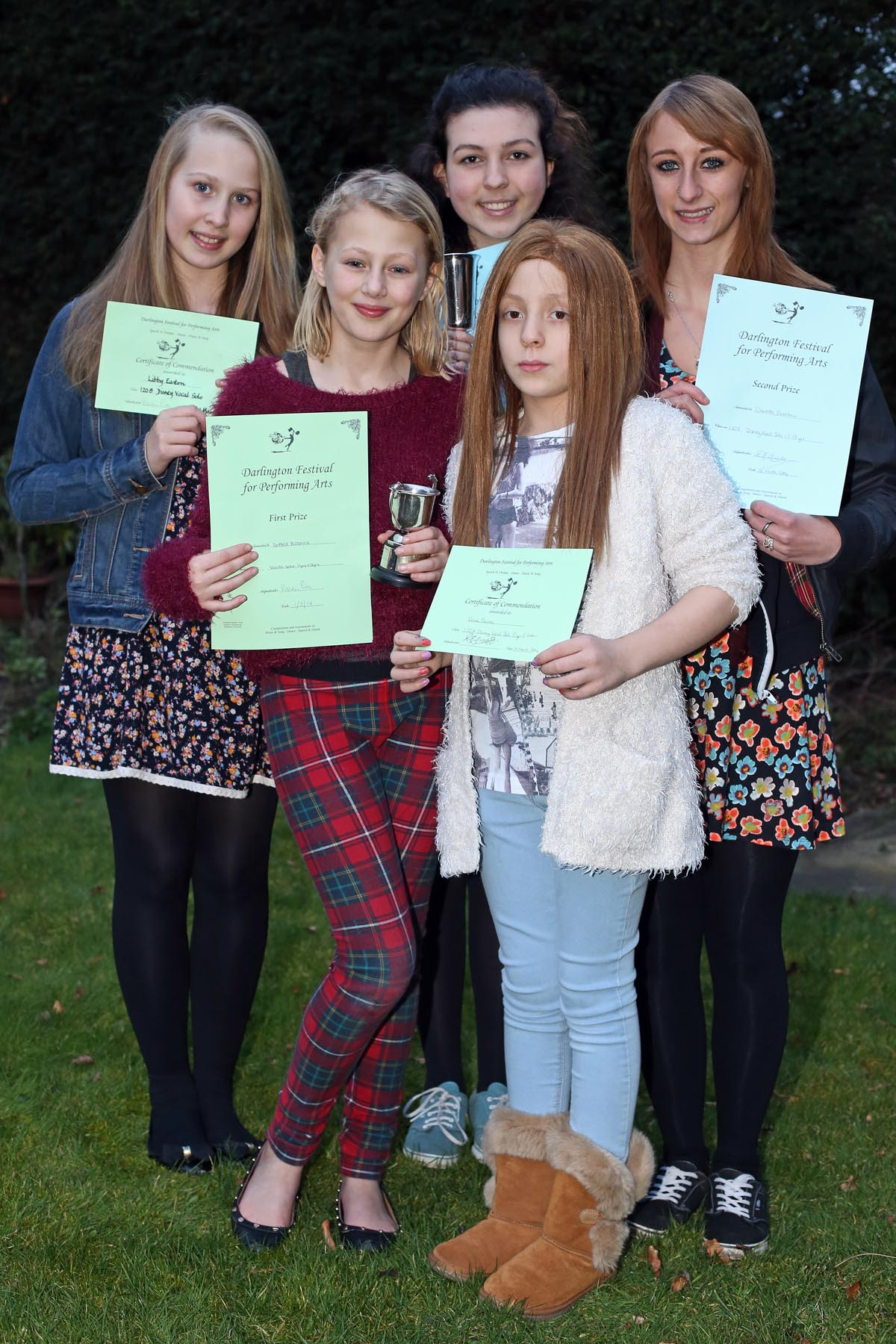 SING UP: Youngsters from the Viveca Bradshaw singing academy who performed well at the recent Darlington Performing Arts Festival. From left: Liberty Easton, 11, Sophie Riddick, 11, Grace Robinson, 15, Vienna Barras, ten, and Charlotte Bradshaw, 17.