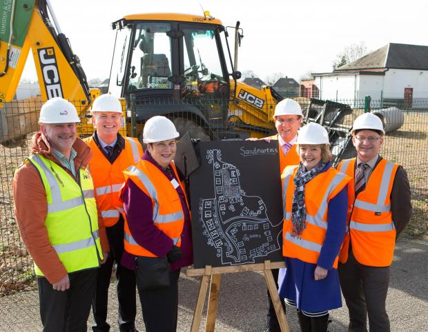 Wayne Harris, executive director of property and development, livin;  Neil Cawson, Homes and Communities Agency; Coun Veronica Copeland;  Iain Sim, chief executive, Coast & Country Housing; Pauline Mitchell,assistant director of housing,Darlington Council