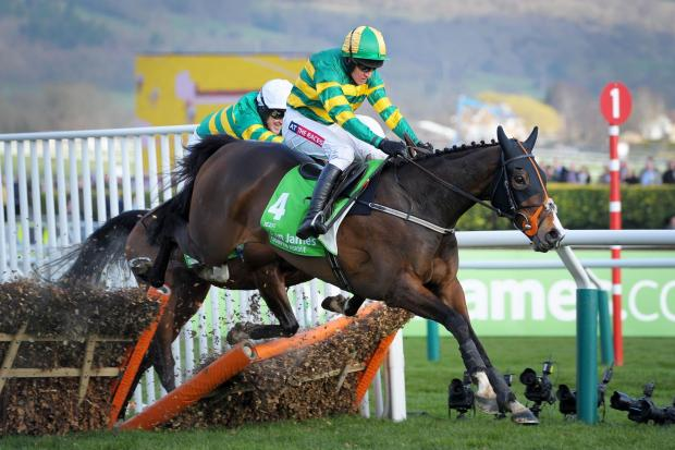 VICTORY: Barry Geraghty on Jezki (front) beats Tony McCoy on My Tent or Yours (back) to victory in the Stan James Champion Hurdle Challenge Trophy on Champion Day at Cheltenham