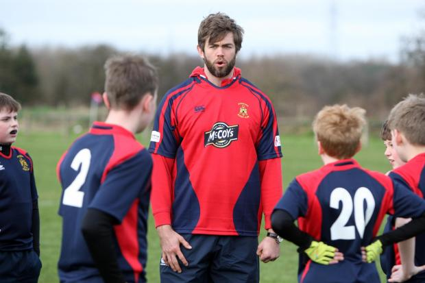British and Irish Lions rugby union star Geoff Parling goes back to his roots by visiting Stockton Rugby Club where he started his illustrious career by training some of the youth teams.