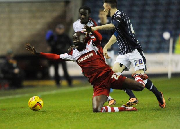 FALLING DOWN: Boro's Albert Adomah thinks his side can still make the top six despite winning only once since mid-January