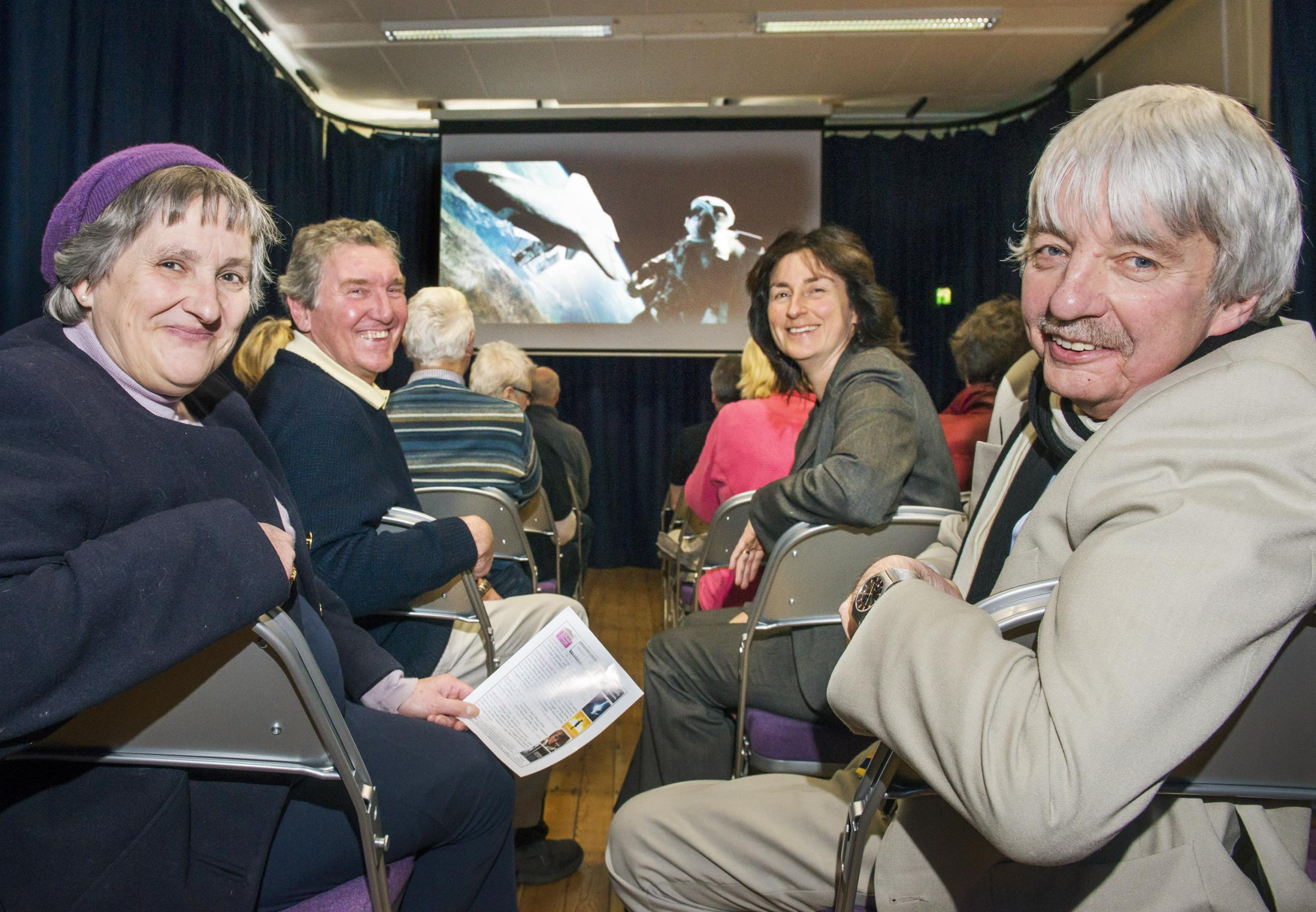 from back row: Dawn Clarkson and John Smith from Leyburn Arts Centre Ltd, Jane Ritchie MBE