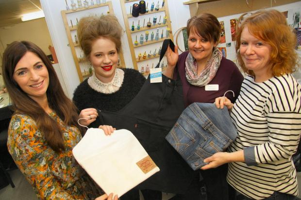 Cleveland College of Art & Design fashion and textile student Sophie Patterson, 17, of Ingleby Barwick (second right) with Teesside Hospice marketing manager Debbie Coulson, Teesside Hospice retail area manager Tracey O'Donnell and CCAD tutor Diane Wats