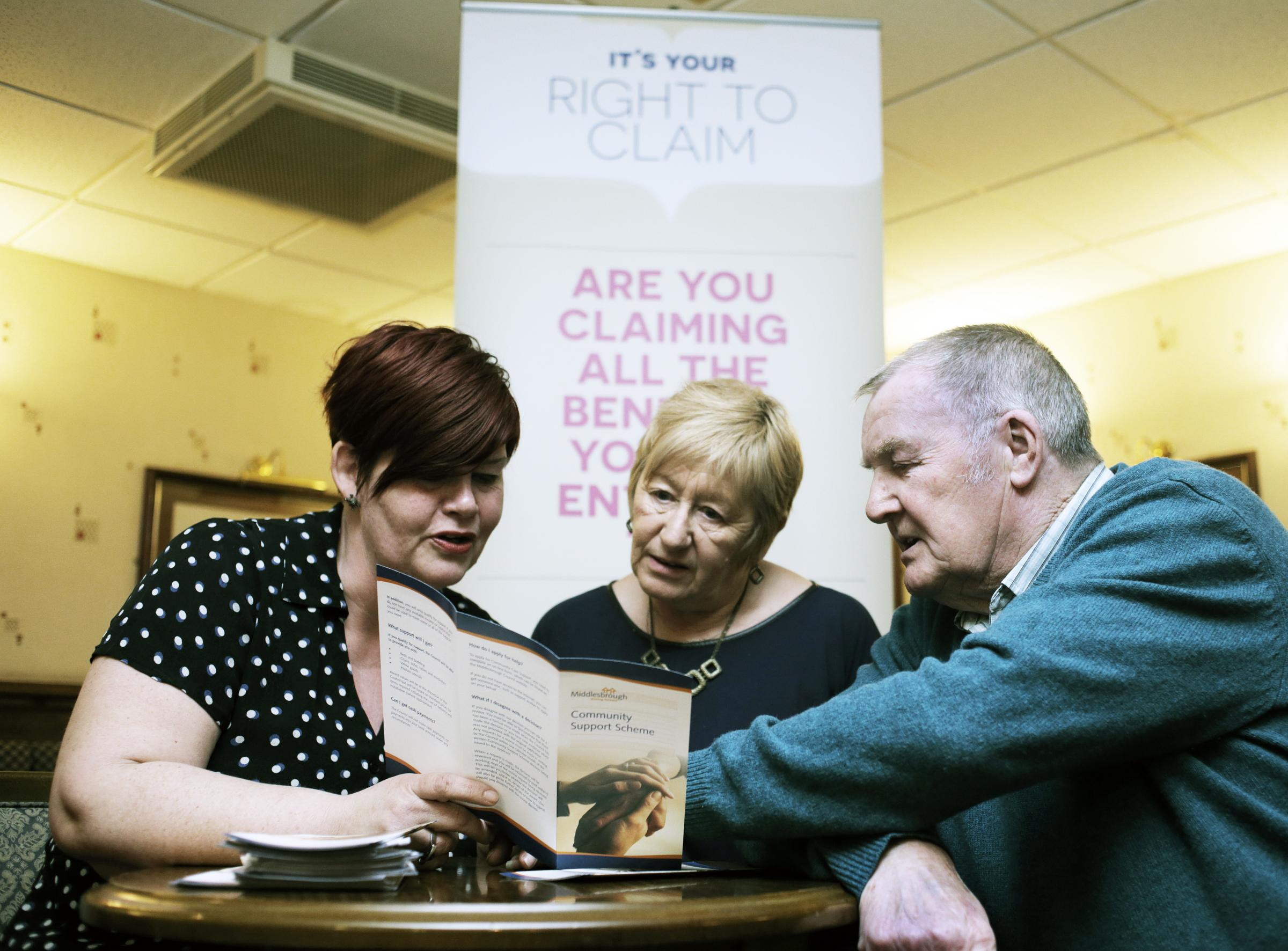 From left, Jo McNally of the Middlesbrough Partnership with local residents Susanne Wood and Gerry Kay take part in the right to claim project at Hemlington Social