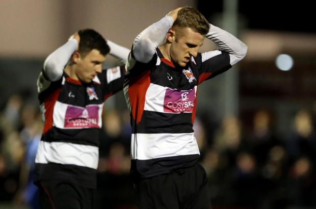 Darlington and Stockton Times: OPPORTUNITY MISSED: David Dowson, right, and Nathan Fisher rue a chance spurned by Darlington during last night's defeat to Curzon Ashton