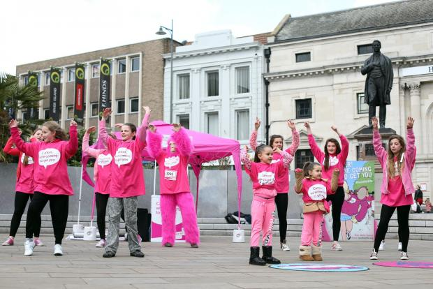 Members of the Tiffany School of Dance perform the Cancer Slam to encourage women to enter the Race for Life in Darlington