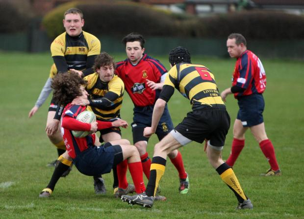 TIGHT HOLD: Action from the Stockton versus visitors Consett match last weekend. The hosts lost the fixture 39-24 – Picture by Tom Banks