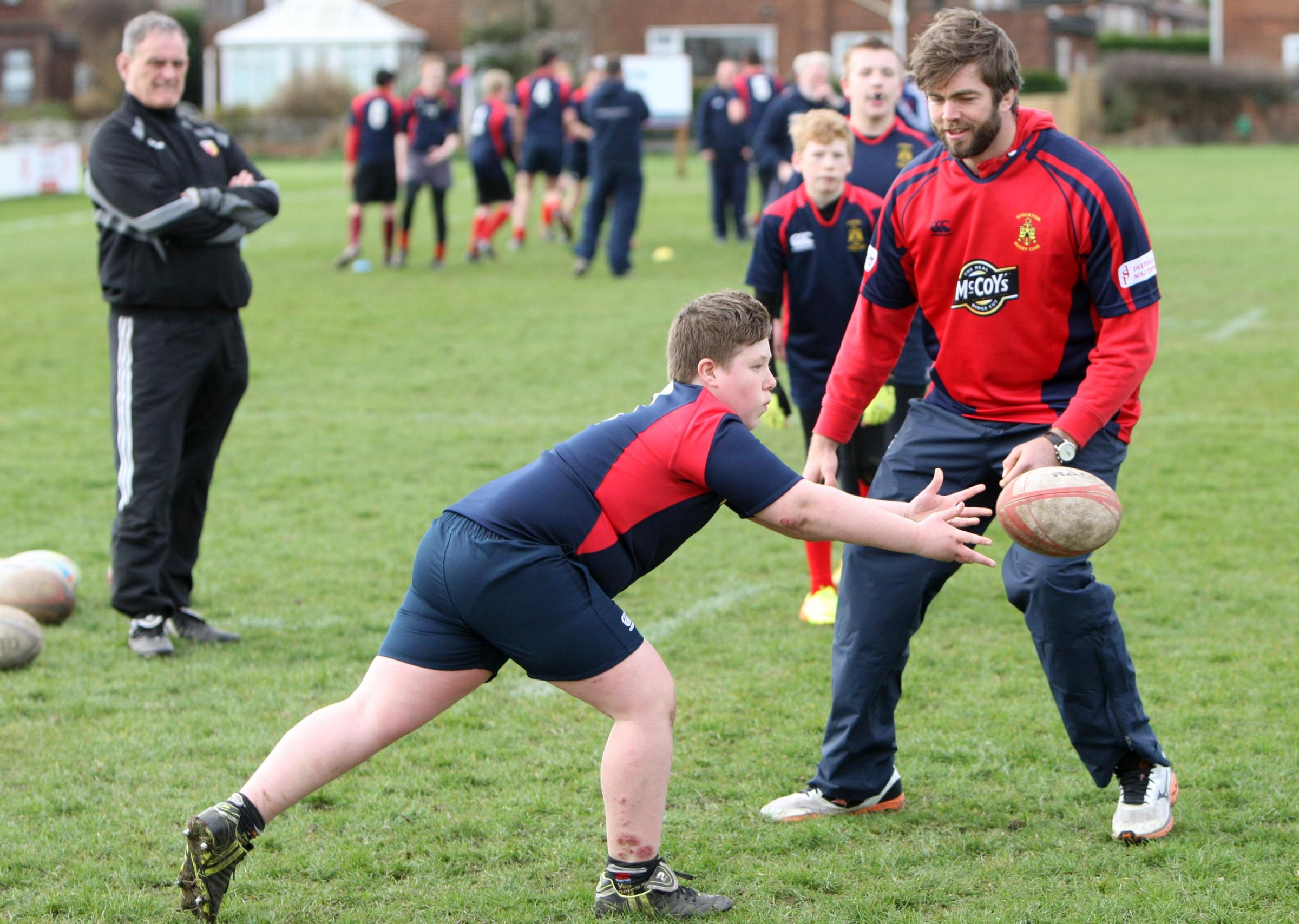 BACK HOME: British and Irish Lions rugby union star Geoff Parling takes a training session for youngsters at Stockton Rugby Club where he started his career – Picture: Tom Banks