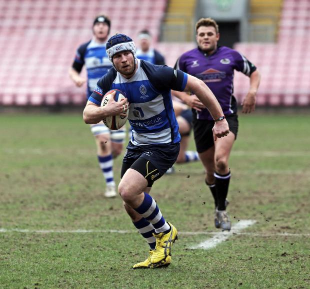 DETERMINATION: Darlington Mowden Park Ross Doneghan on his way to scoring a try against Leicester Lions