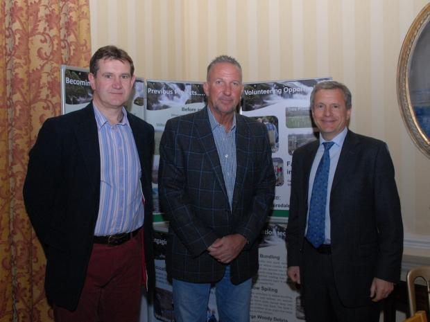 Auctioneer Andrew Fallows (Carter Jonas) with Sir Ian Botham and Andrew Brown, Chairman of the Yorkshire Dales Rivers Trust.