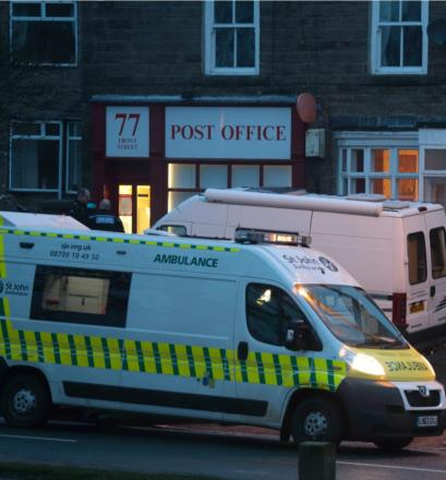 CRIME SCENE: The scene outside the post office in Cockfield this afternoon