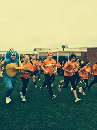 Sainsbury's staff take part in the Sport Relief Mile at Sedgefield Racecourse