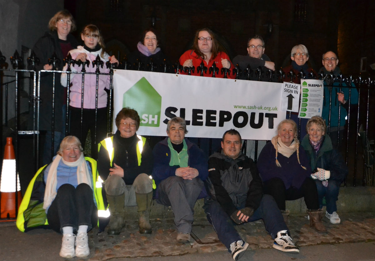 People taking part in the Northallerton Sleepout on March 22
