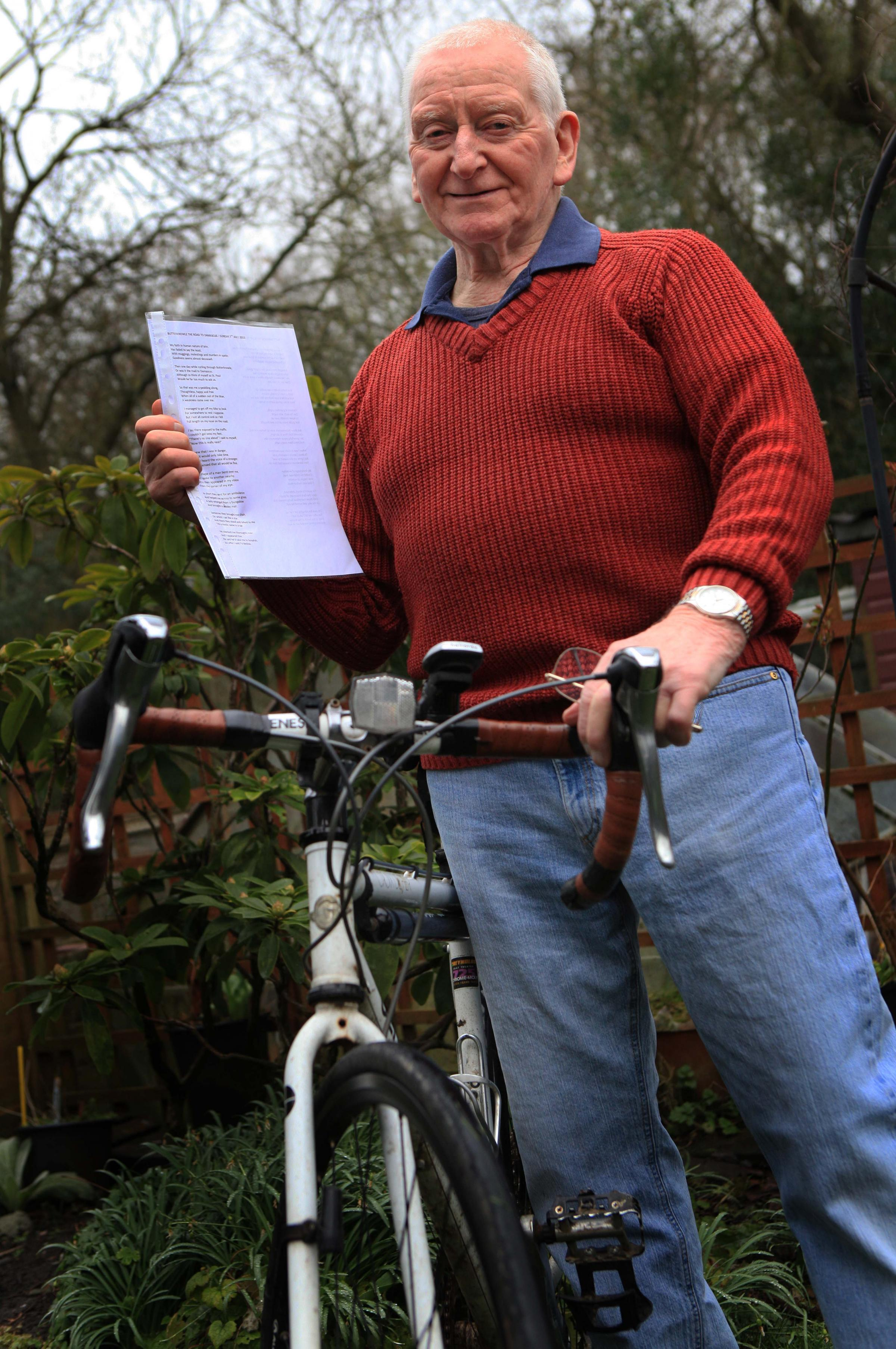 Cyclist Alan Thompson has written a poem to thank the strangers who helped him after an accident last summer
