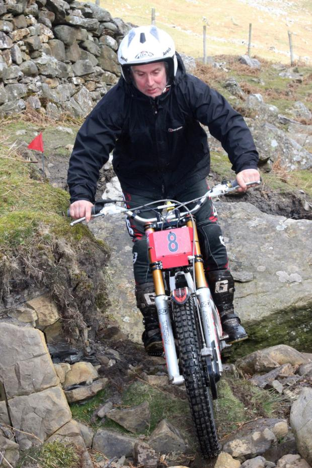 Darlington and Stockton Times: EASY RIDER: Philip Alderson masters the tricky course on the Telfit Moors to win the Andrew Allison Memorial Trial on Sunday