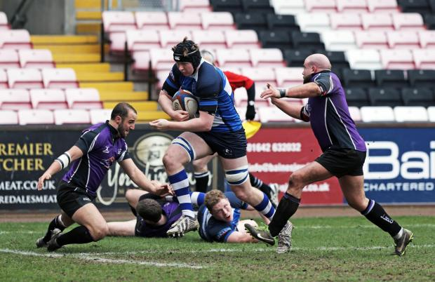 DRIVING FORCE: Mowden Park's Pierce Phillips on his way to scoring a try against Leicester Lions