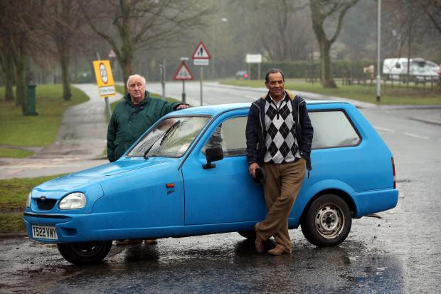 SPEED TRAP: Reliant Robin owner Harley Monk and friend Ayub Bhatti, who are angry at being caught by a mobile speed camera in Catterick Garrison.
