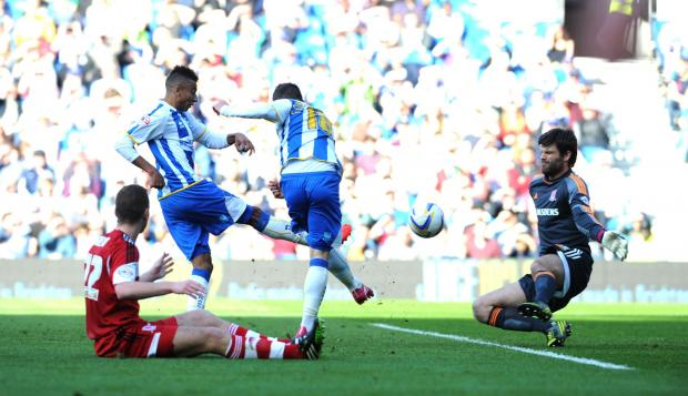 WELL SAVED: Brighton's Jesse Lingard and Jake Forster-Caskey are denied by Middlesbrough goalkeeper Dimi Konstantopoulos