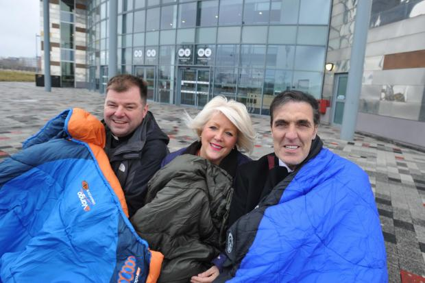 New signing: Bernie Slaven will be joining Fr Paul Farrer and Lynne Alderson for the Big Tees Sleepout on April 25.