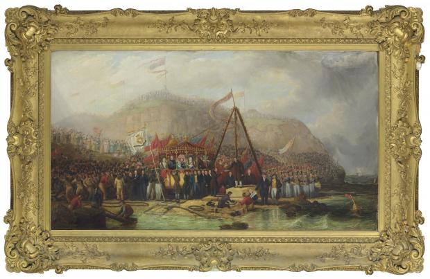 UNDER AUCTION: The laying of the foundation stone of Seaham Harbour, Co. Durham, 1828, by Robert Mackreth - one of more than 200 pieces of art collected by Marquesses of Londonderry.