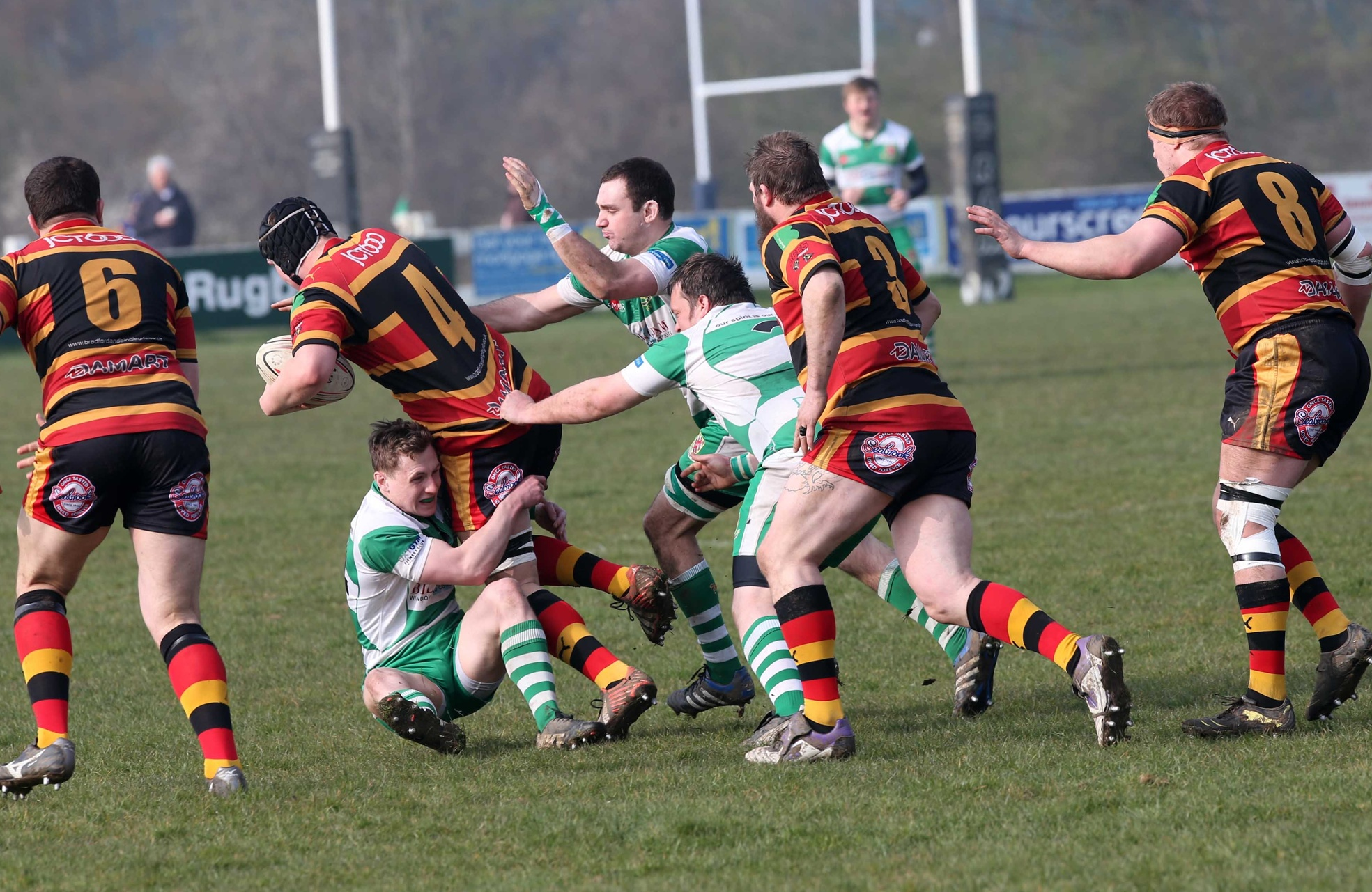 FRANTIC PLAY: Billingham's Jonny McLaughlin brings down Bradford and Bingley's Harry Jeffrey in a National Three North relegation clash last weekend. Visitors Bradford won the match 45-43 – Picture: Andy Lamb