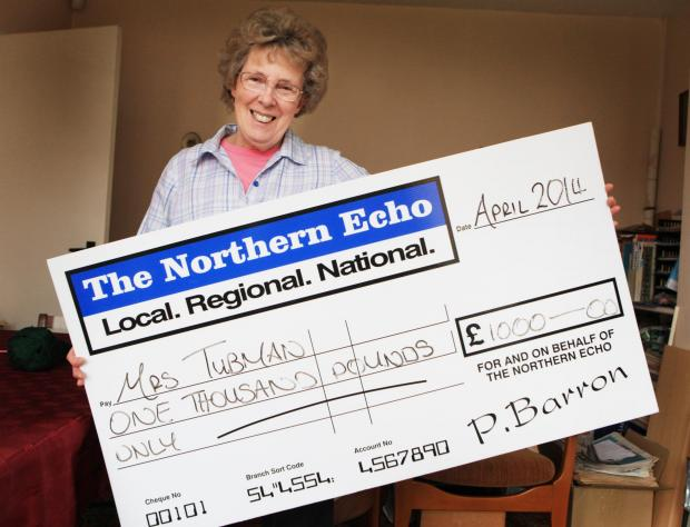 Marian Tubman from Stockton winner of  £1000 cash prize.