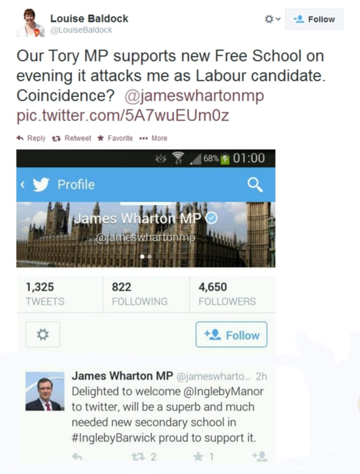 TWITTER ROW: Accusations fly between Stockton South MP James Wharton and Labour candidate Louise Baldock.