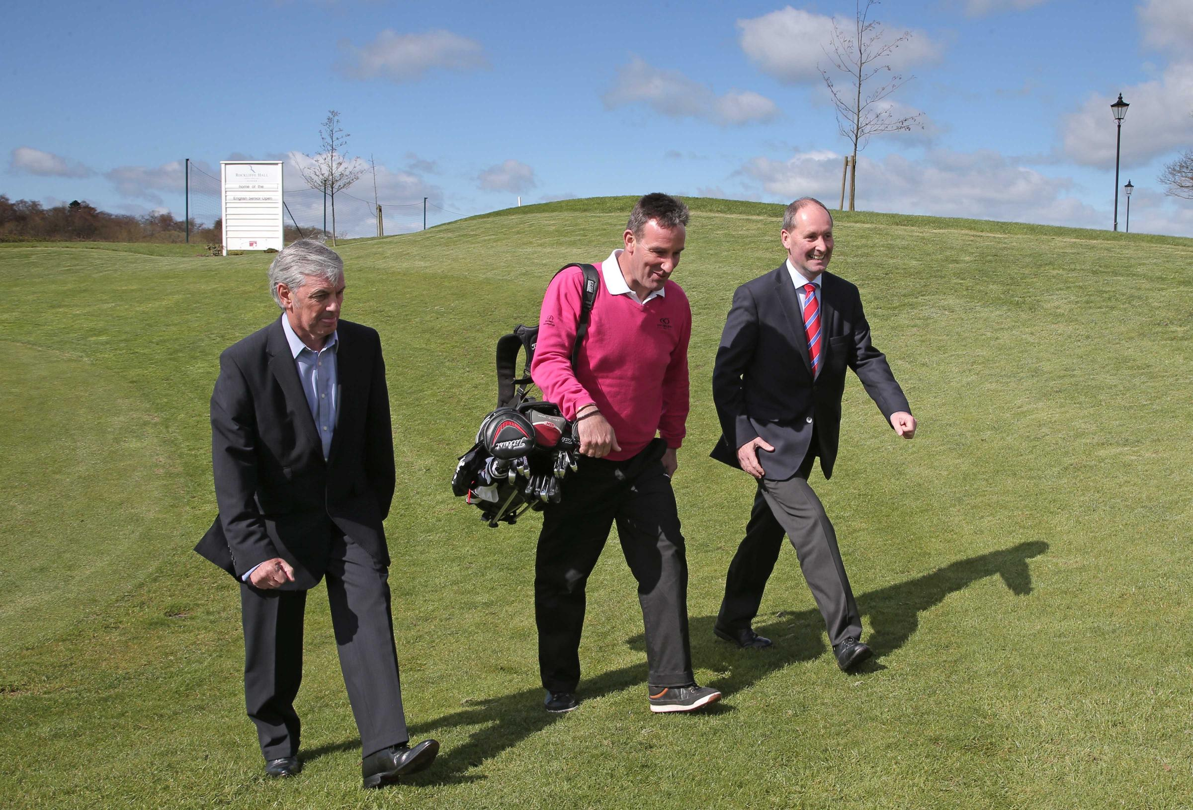 CHARITY EVENT: Golf champ Paul Wesselingh, centre, with Warwick Brindle, left, and Andy Stubbs, at the press conference at Rockliffe Hall where the return of the English Senior Open was announced