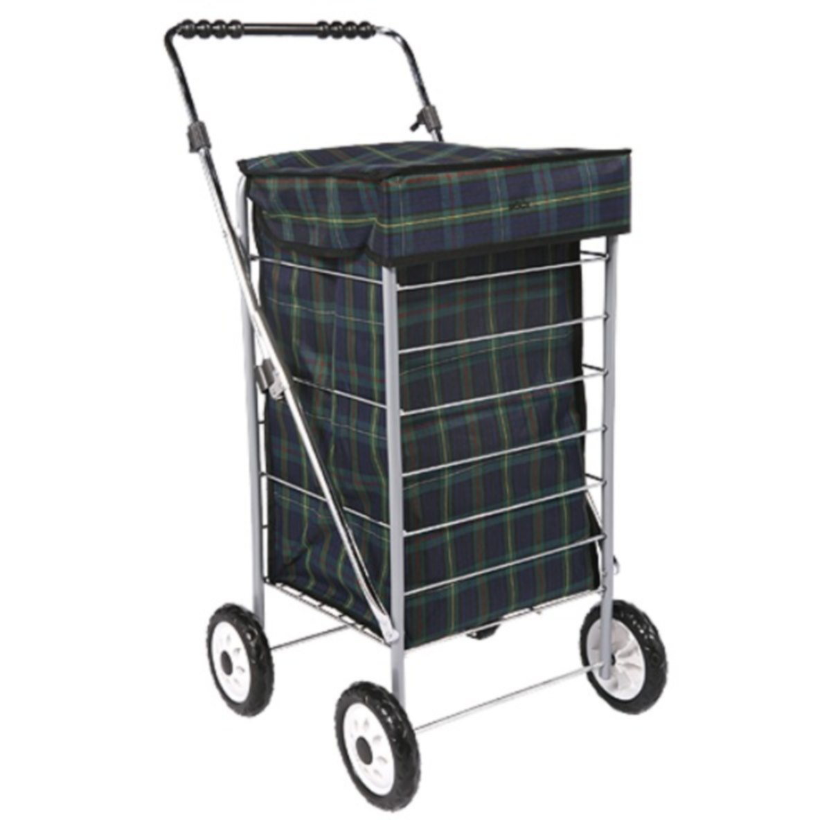 SHOPPING CHIC?: A wheeled shopping trolley with snazzy tartan material. Picture: Google
