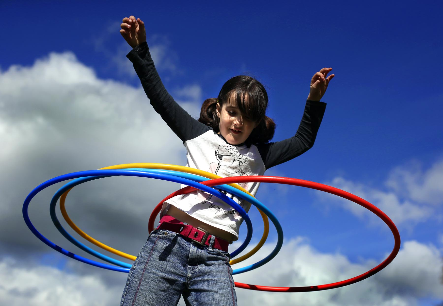Groundworks host an outdoor playgroup for children. Pictured with hula hoops is Elisha Wright (8)