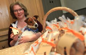 Darlington and Stockton Times: BIGGEST FAN: Alison Walton, of Romaldkirk, has set up a dog biscuit company Wellybix after her dog Welly fell in love with her baking