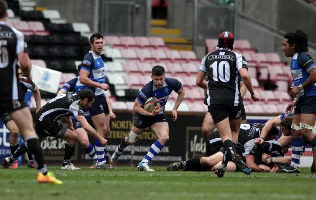 QUICK FEET: Darlington Mowden Park's Henry Robinson pushes forward against Otley – Picture Tom Banks