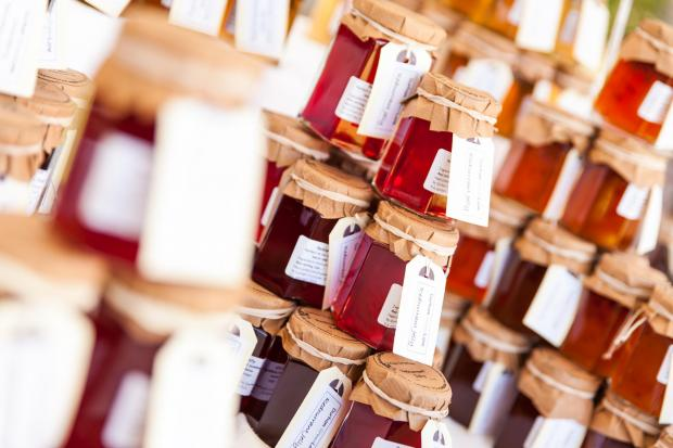 IN A JAM: Jars of jams made from a variety of fruit make a colourful display