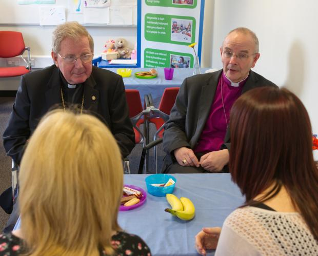 Bishop Seamus Cunnigham and Bishop Mark Bryant at Gateshead Foodbank