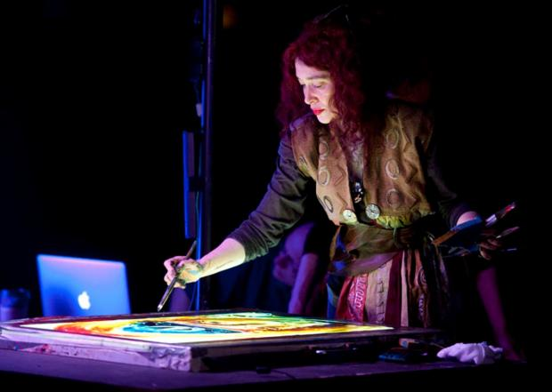 LIVE PAINTING: Artist Maria Rud, who has devised the Animotion Show which will be staged at Durham Cathedral