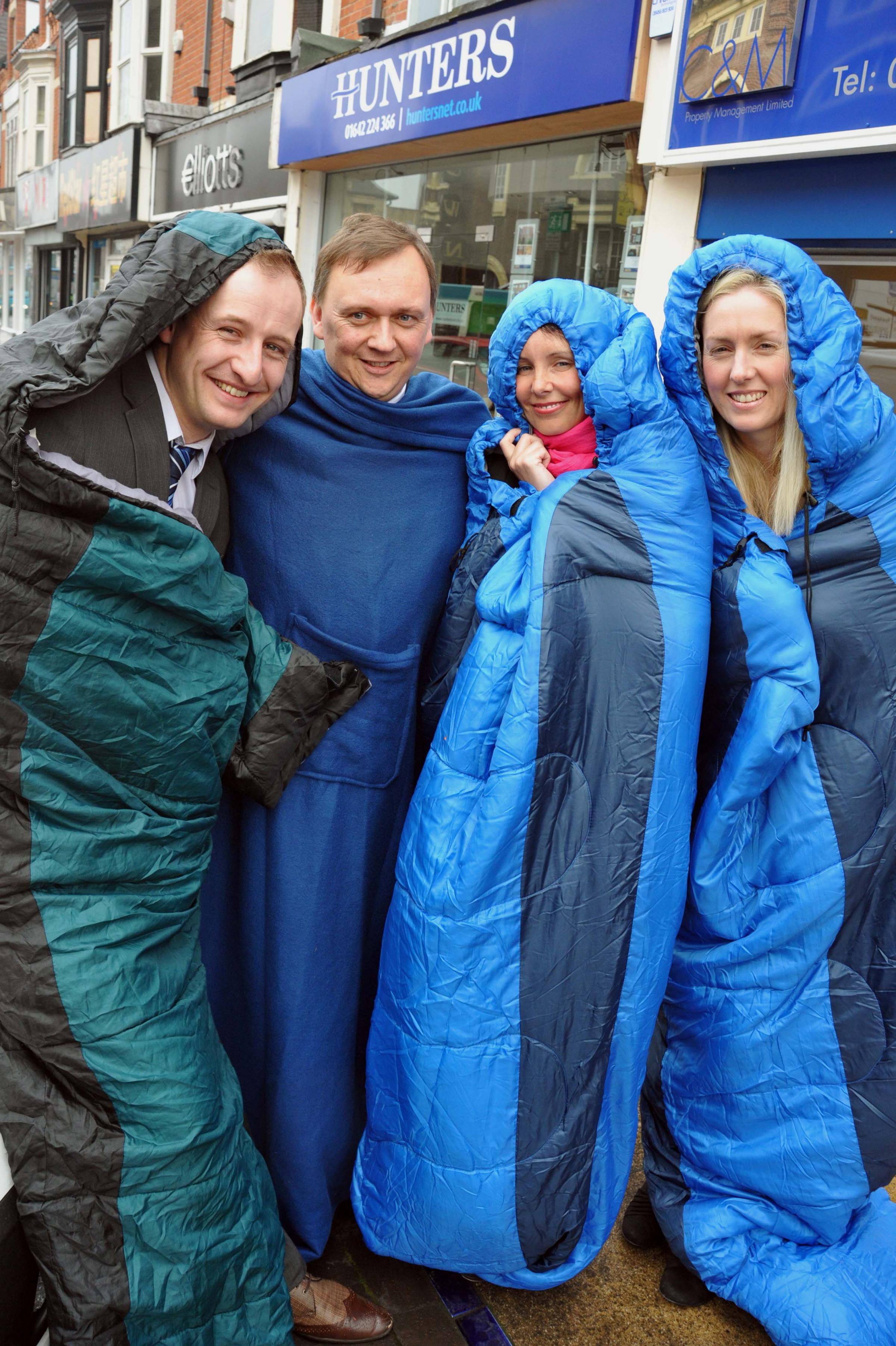 Charity challenge: Hunters' staff, from left, Brian Briddick, Steve McDonald, Lisa Preston and Georgina Eva