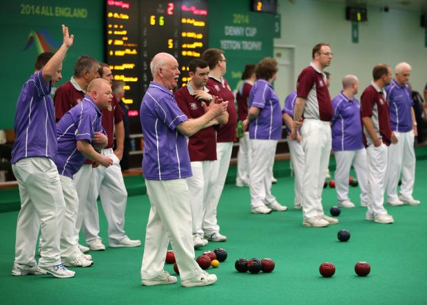 The EIBA finals take place at the Darlington Indoor Bowls Club. Stanley (purple shirts) take on Wey Valley (maroon shirts) in one of the mens' semi-finals