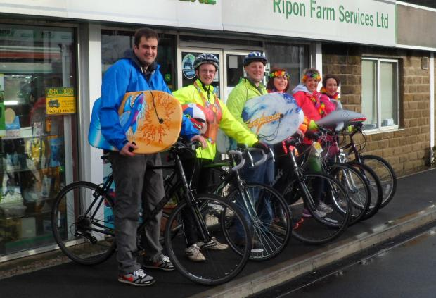 FUNDRAISING AIM: Ripon Farm Services staff ahead of their Coast to Coast cycle challenge