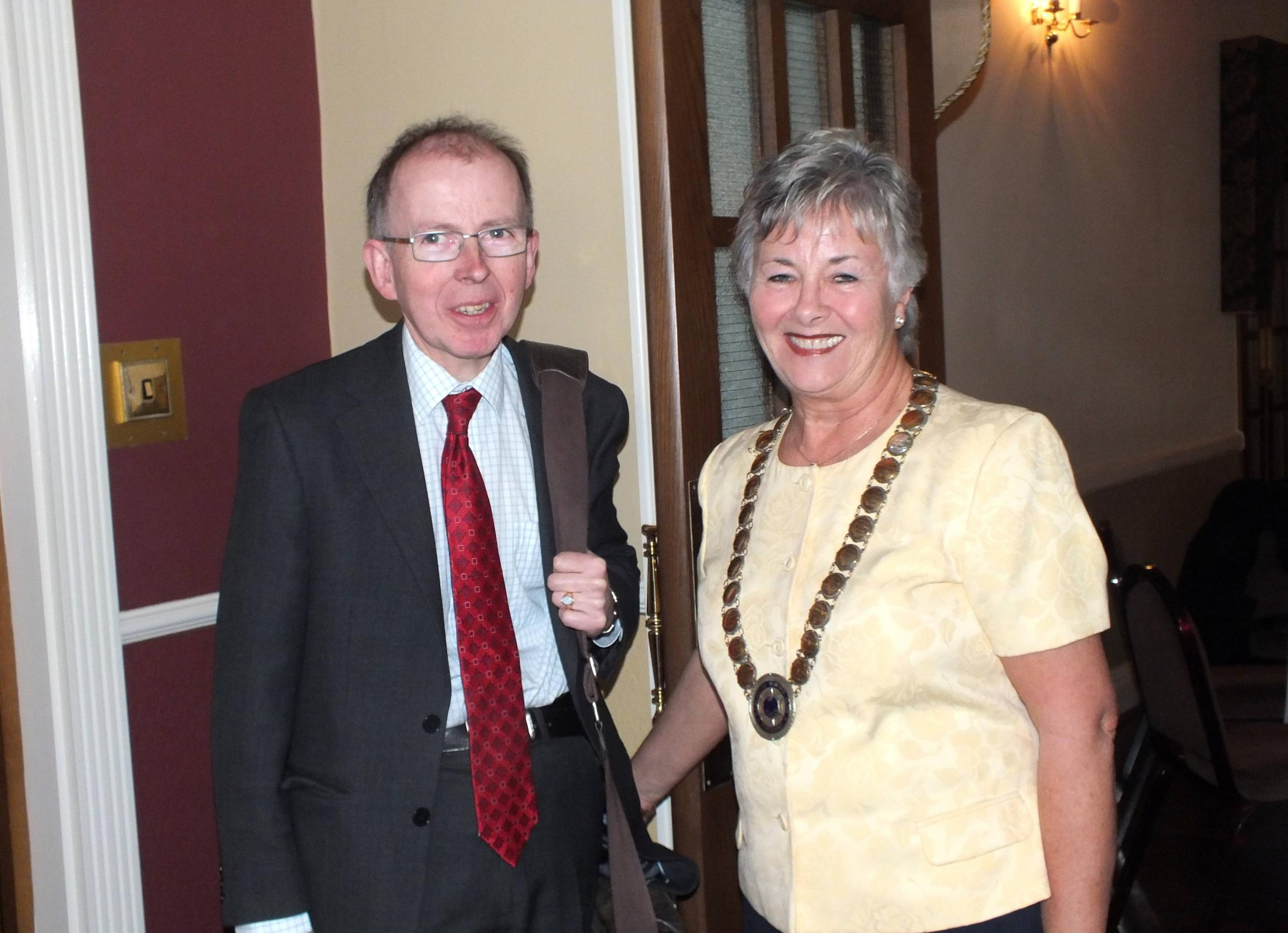 Gemologist Robert Bolton with the Club President, Ann Williams