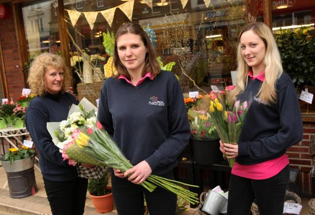 BLOOM WOES: The branch of Nattrass, in West Row, Darlington, will shut its doors on Saturday after 20 years. Pictured from the left are staff members -Sally and Katie Bennett and Laura Simpson.