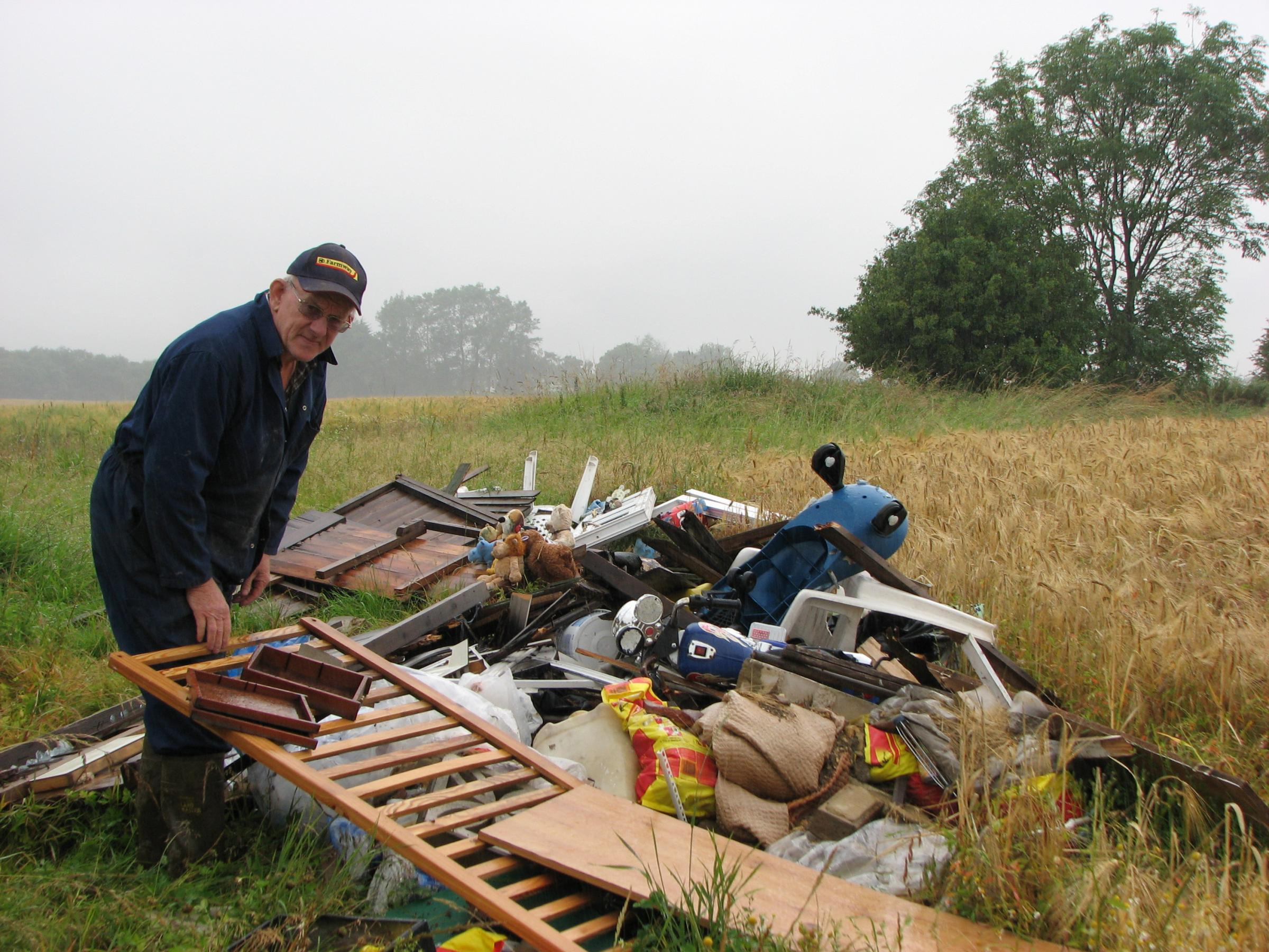 MESS: Robert Campbell farms at Stokesley and is one of the many farmers who regularly find waste dumped on his land